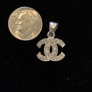 Sterling Silver Chanel Diamond Pendant